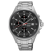 men s chrono stainless steel black bezel watch by seiko 4