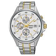 men s chrono two tone stainless steel watch by seiko