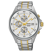 men s chrono two tone stainless steel watch by seiko