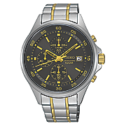 men s chrono two tone black dial watch by seiko
