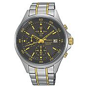 men s chrono two tone black dial watch by seiko