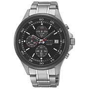 Men's Chrono Stainless Steel Black Bezel Watch by Seiko