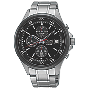 men s chrono stainless steel black bezel watch by seiko 3