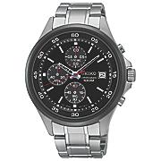 men s chrono stainless steel black bezel watch by seiko 3