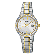 women s crystal accented two tone stainless steel watch by seiko