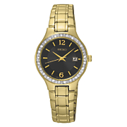 women s crystal accented goldtone watch with black dial by seiko