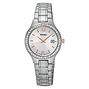 women s crystal accented silvertone watch by seiko