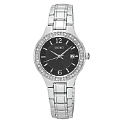women s crystal accented silvertone watch with black dial by seiko