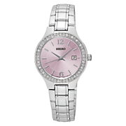 women s crystal accented silvertone watch with pink dial by seiko