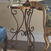 Mirror Top Scroll Side Table
