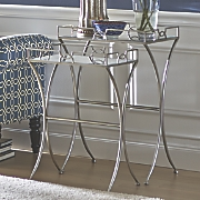 set of 2 mirror top side tables