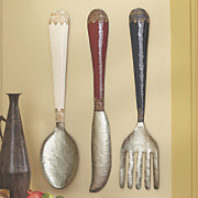 set of 3 knife spoon fork wall decor