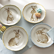 set of 4 assorted bunny plates