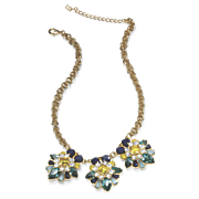 Blue and Yellow Crystal Necklace