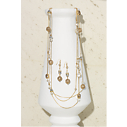 crystal multi strand necklace and earring set