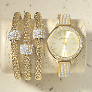 crystal hinged bangle watch and bracelet set