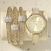 crystal hinged bangle watch and bracelet set