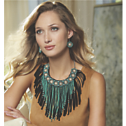 beaded fringed necklace and earring set