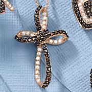 Chocolate and White Cubic Zirconia Cross Pendant