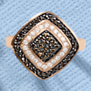 chocolate and white cubic zirconia cushion ring