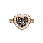 chocolate and white cubic zirconia heart ring