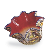 odd shaped striped glass bowl