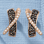 Chocolate and White Cubic Zirconia Crisscross Earrings