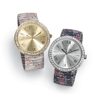 Crystal/Floral Stretch Band Watch