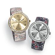 crystal floral stretch band watch
