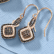 chocolate and white cubic zirconia cushion drop earrings