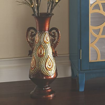 Peacock Vase with Scrolled Handles