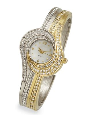 Two-Tone Swirl Crystal Watch