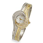 two tone swirl crystal watch 6