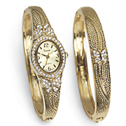 crystal hinged bangle watch   bracelet set