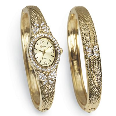 Crystal Hinged Bangle Watch & Bracelet Set