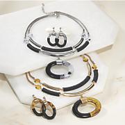 acrylic oval necklace earring set