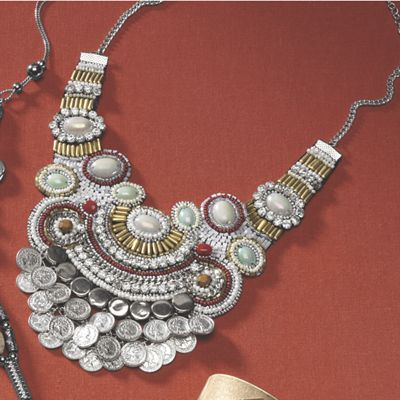 Silvertone Bead and Disc Necklace & Earring Set