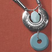 faux turquoise silvertone necklace