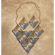 two tone triangles necklace   earring set