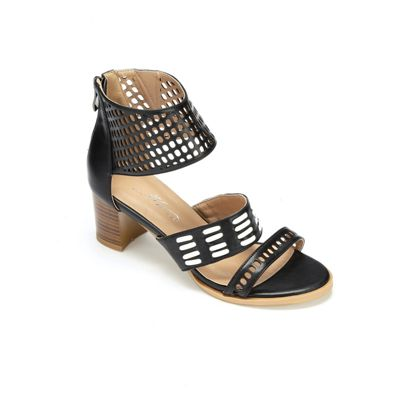 Woven and Perforated Collar Sandal by Midnight Velvet