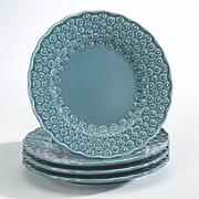 set of 4 floral dessert plates
