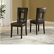 set of 2 square cutout dining chairs