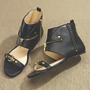 zipper trim collar sandal by midnight velvet
