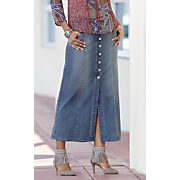 ava button front denim skirt