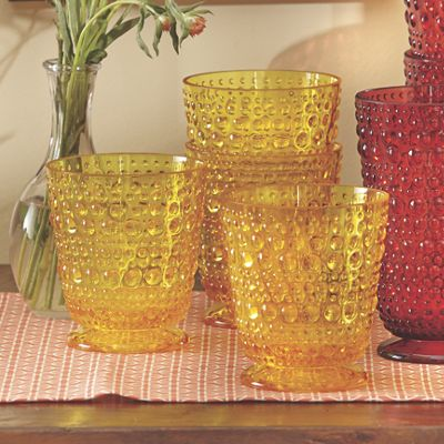 Set of 4 Embossed Double Old-Fashion Glasses