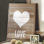 painted love wood panel art