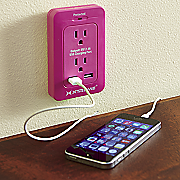 2 outlet surge wall tap with dual port usb