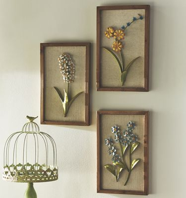 Set of 3 Metal Floral Art