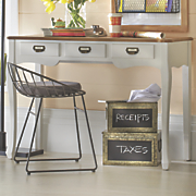 two tone desk with drawers
