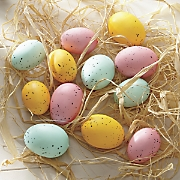 12-Piece Easter Egg Ornaments Set with Raffia